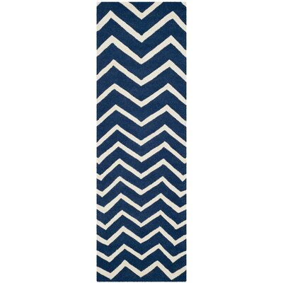 Charlenne Hand-Tufted Wool Blue/Ivory Area Rug Rug Size: Runner 26 x 6