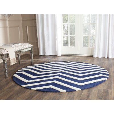 Charlenne Hand-Tufted Wool Blue/Ivory Area Rug Rug Size: Round 6'