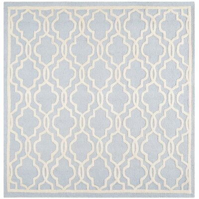 Martins Hand-Tufted Wool Light Blue/Ivory Area Rug Rug Size: Rectangle 6 x 6