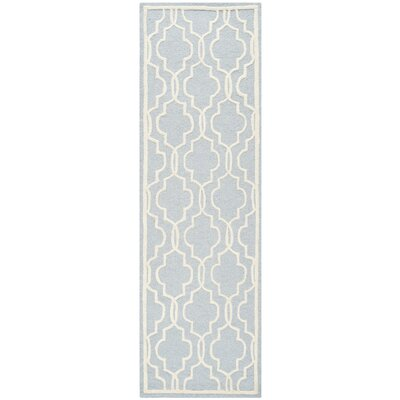 Martins Hand-Tufted Wool Light Blue/Ivory Area Rug Rug Size: Runner 26 x 8