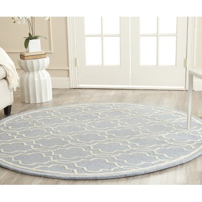Martins Hand-Tufted Wool Light Blue/Ivory Area Rug Rug Size: Round 6