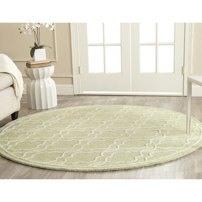 Martins Light Green & Ivory Area Rug I Rug Size: Round 6
