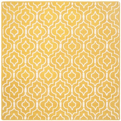 Martins Gold & Ivory Area Rug Rug Size: Square 8