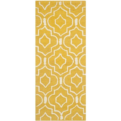 Martins Gold & Ivory Area Rug Rug Size: Rectangle 26 x 4