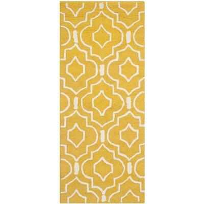 Martins Gold & Ivory Area Rug Rug Size: 6 x 9
