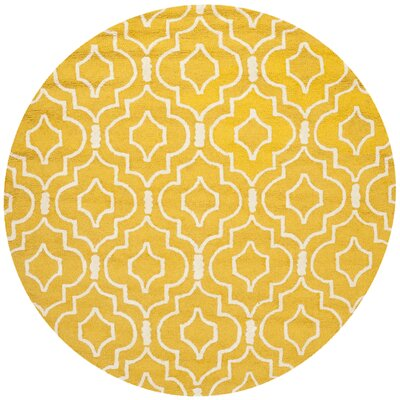 Martins Gold & Ivory Area Rug Rug Size: Round 6