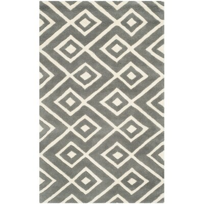 Wilkin Hand-Tufted Wool Dark Gray/Ivory Area Rug Rug Size: Rectangle 2' x 3'