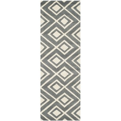 Wilkin Hand-Tufted Wool Dark Gray/Ivory Area Rug Rug Size: Runner 23 x 7