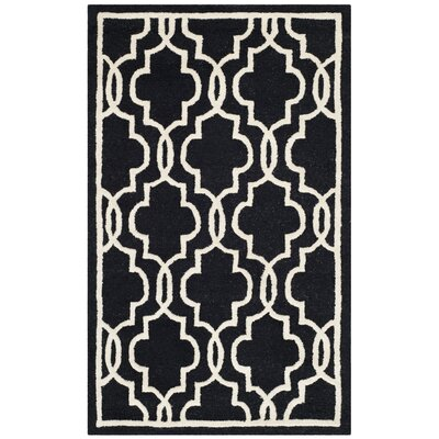 Martins Hand-Tufted Wool Black Area Rug Rug Size: Rectangle 26 x 4