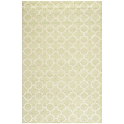 Martins Hand-Tufted Wool Light Green/Ivory Area Rug Rug Size: Rectangle 8 x 10