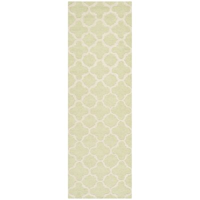 Martins Hand-Tufted Wool Light Green/Ivory Area Rug Rug Size: Runner 26 x 12