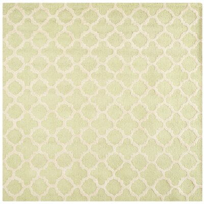 Martins Light Green / Ivory Area Rug Rug Size: Square 6