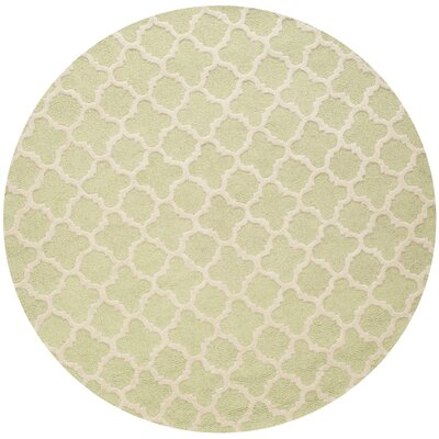 Martins Hand-Tufted Wool Light Green/Ivory Area Rug Rug Size: Round 6