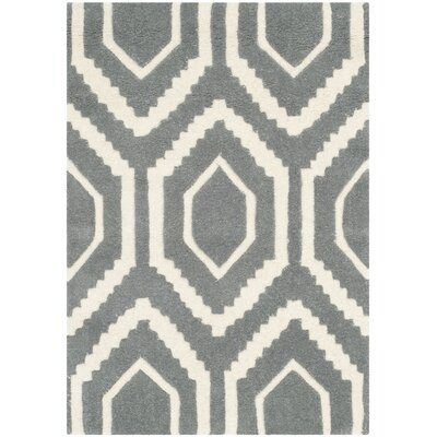 Wilkin Hand-Tufted Wool Dark Gray/Ivory Area Rug Rug Size: Rectangle 2 x 3