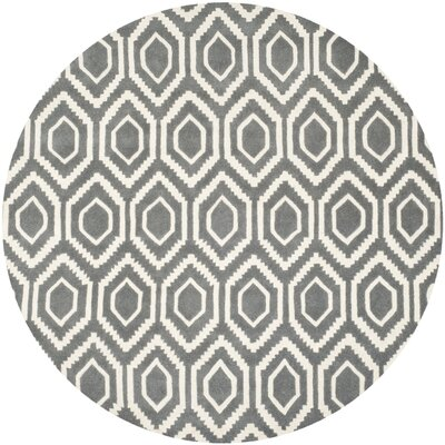 Wilkin Dark Gray Area Rug Rug Size: Round 7