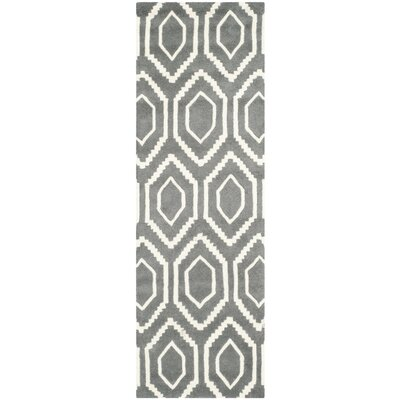 Wilkin Hand-Tufted Wool Dark Gray/Ivory Area Rug Rug Size: Runner 23 x 5