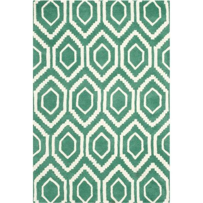 Wilkin Hand-Tufted Teal/Ivory Area Rug Rug Size: Rectangle 2 x 3
