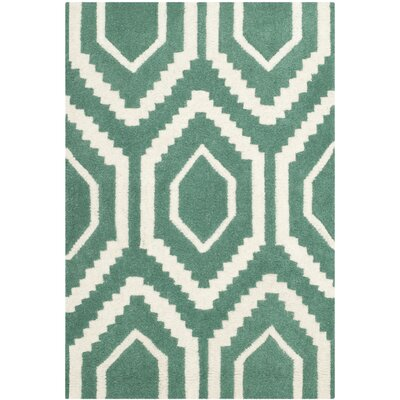 Wilkin Hand-Tufted Wool Teal/Ivory Area Rug Rug Size: Rectangle 2 x 3