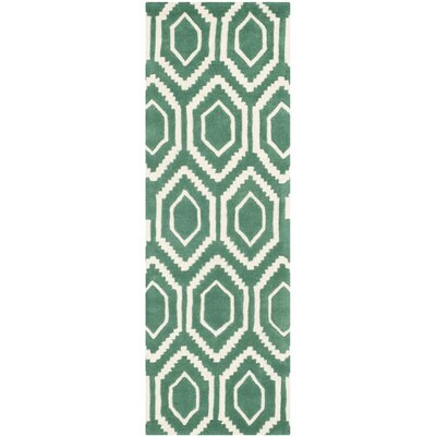 Wilkin Hand-Tufted Teal/Ivory Area Rug Rug Size: Runner 23 x 7