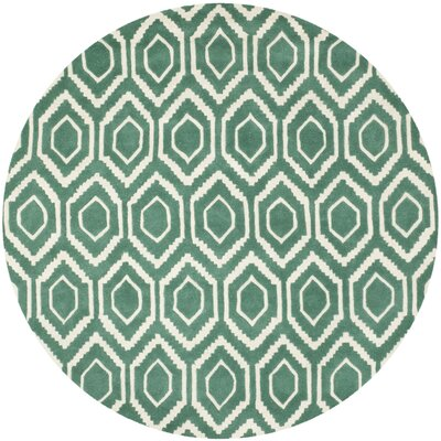 Wilkin Hand-Tufted Wool Teal/Ivory Area Rug Rug Size: Round 7