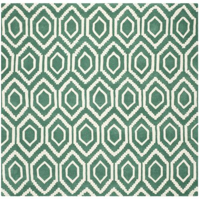Wilkin Hand-Tufted Teal/Ivory Area Rug Rug Size: Square 7