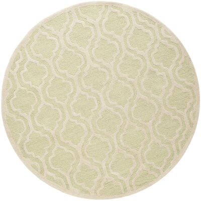 Martins Hand-Tufted Wool Light Green/Ivory Area Rug Rug Size: Square 6