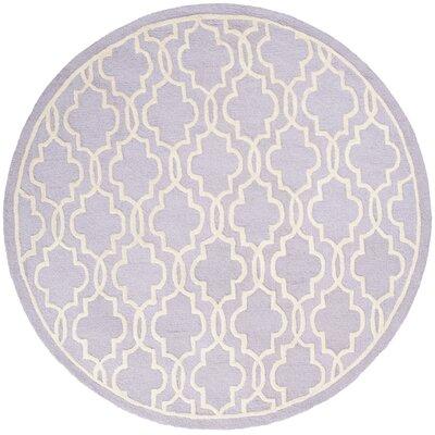 Martins Lavender / Ivory Area Rug Rug Size: Round 6