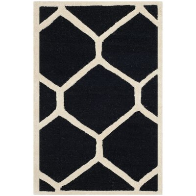 Martins Black Area Rug Rug Size: 2'6
