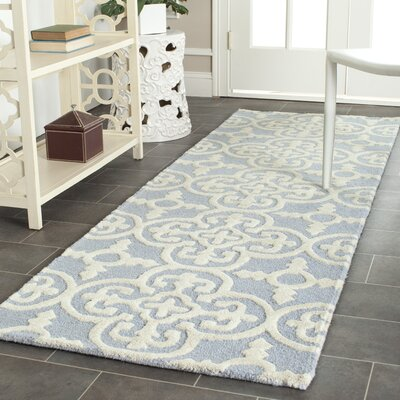 Martins Light Blue & Ivory Area Rug Rug Size: Runner 2'6