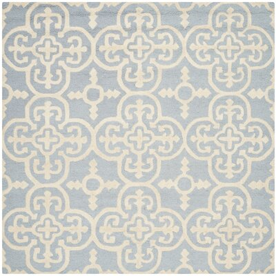 Marlen Light Blue & Ivory Area Rug Rug Size: Square 6