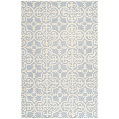 Martins Light Blue & Ivory Area Rug Rug Size: 76 x 96