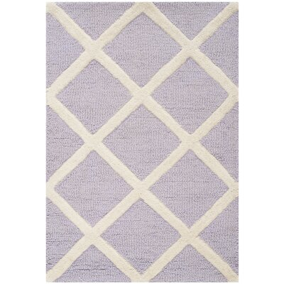 Martins Hand-Tufted Wool Lavender/Ivory Area Rug Rug Size: Rectangle 2 x 3