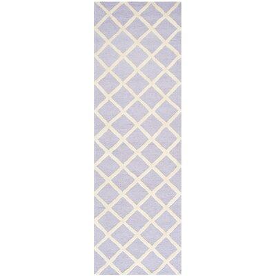 Martins Hand-Tufted Wool Lavender/Ivory Area Rug Rug Size: Runner 26 x 8