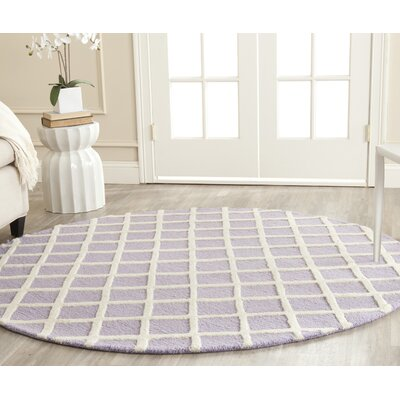 Martins Hand-Tufted Wool Lavender/Ivory Area Rug Rug Size: Round 6