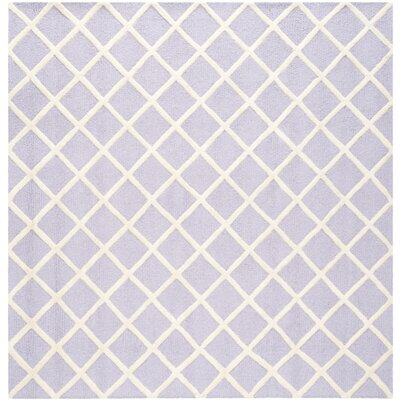 Martins Hand-Tufted Wool Lavender/Ivory Area Rug Rug Size: Square 6