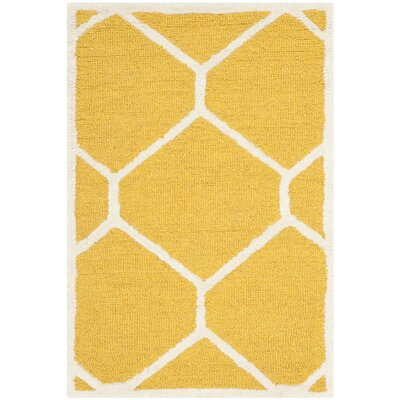 Martins Hand-Tufted Wool Gold/Ivory Area Rug Rug Size: Rectangle 8 x 10