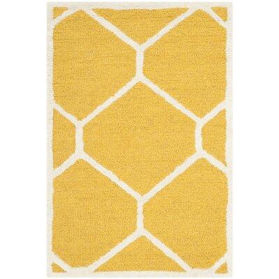Martins Gold / Ivory Area Rug Rug Size: 3 x 5