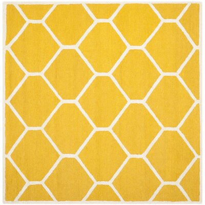 Martins Hand-Tufted Wool Gold/Ivory Area Rug Rug Size: Square 8