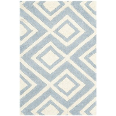 Wilkin Hand-Tufted Wool Blue/Ivory Area Rug Rug Size: Rectangle 2 x 3