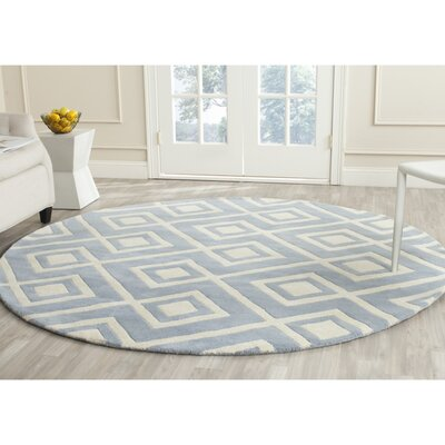 Wilkin Hand-Tufted Wool Blue/Ivory Area Rug Rug Size: Round 7'