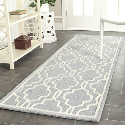 Martins Hand-Tufted Wool Silver/Ivory Area Rug Rug Size: Runner 26 x 12