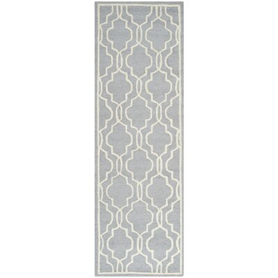 Martins Silver & Ivory Area Rug Rug Size: Runner 26 x 8