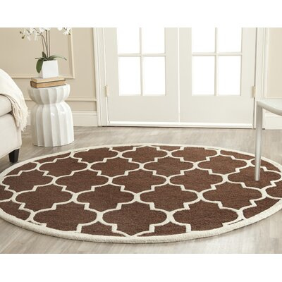 Charlenne Dark Brown Area Rug Rug Size: Round 6
