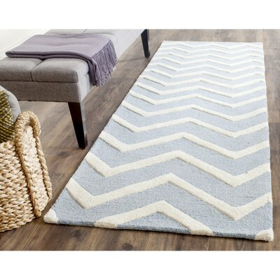 Charlene Hand-Tufted Wool Gray/Ivory Area Rug Rug Size: Runner 26 x 8