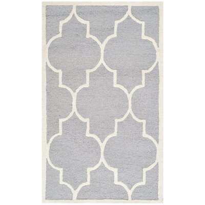 Martins Hand-Tufted Wool Gray/Ivory Area Rug Rug Size: Square 6'
