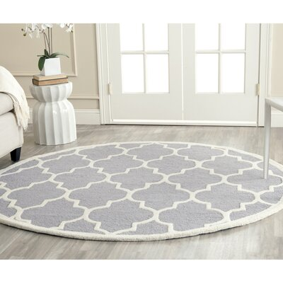 Martins Silver & Ivory Area Rug III Rug Size: Round 4