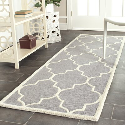 Martins Hand-Tufted Wool Gray/Ivory Area Rug Rug Size: Runner 26 x 22