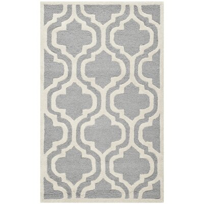 Martins Silver / Ivory Area Rug Rug Size: Rectangle 3 x 5