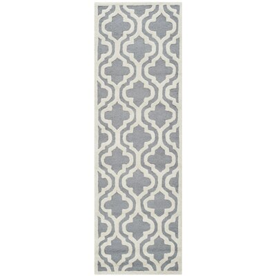 Martins Silver / Ivory Area Rug Rug Size: Runner 26 x 8