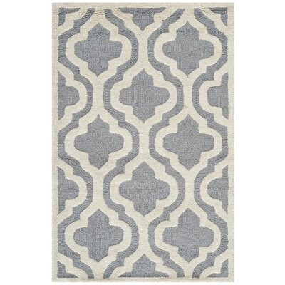 Martins Silver / Ivory Area Rug Rug Size: 6' x 9'